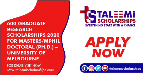 600 Graduate Research Scholarships 2020 For Masters/MPhil Doctoral (Ph.D.) – University of Melbourne Scholarships (Fully Funded)