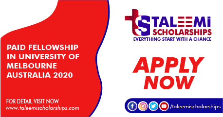 Paid Fellowship in University of Melbourne Australia 2020